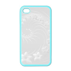 Light Gray Abstract Flowers Apple Iphone 4 Case (color) by BestCustomGiftsForYou