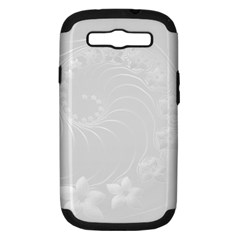 Light Gray Abstract Flowers Samsung Galaxy S Iii Hardshell Case (pc+silicone) by BestCustomGiftsForYou