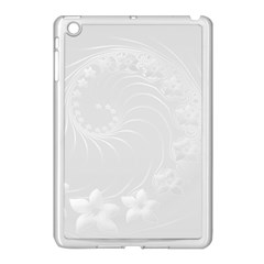 Light Gray Abstract Flowers Apple Ipad Mini Case (white) by BestCustomGiftsForYou