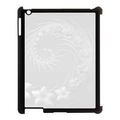 Light Gray Abstract Flowers Apple Ipad 3/4 Case (black) by BestCustomGiftsForYou