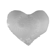 Light Gray Abstract Flowers 16  Premium Heart Shape Cushion  by BestCustomGiftsForYou