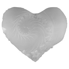 Light Gray Abstract Flowers 19  Premium Heart Shape Cushion by BestCustomGiftsForYou