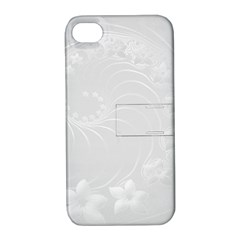 Light Gray Abstract Flowers Apple Iphone 4/4s Hardshell Case With Stand by BestCustomGiftsForYou