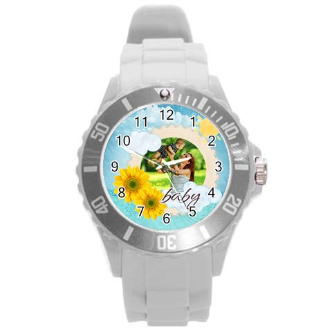 Summer By Summer Time    Round Plastic Sport Watch (l)   Rauf9pp77cqt   Www Artscow Com Front