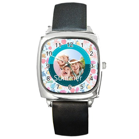 Summer By Summer Time    Square Metal Watch   2tlk1yxmvegx   Www Artscow Com Front
