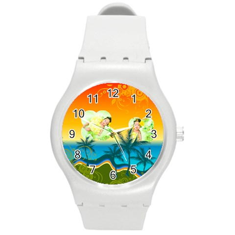 Summer By Summer Time    Round Plastic Sport Watch (m)   Nh64asdvppan   Www Artscow Com Front