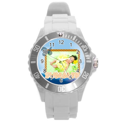 Summer By Summer Time    Round Plastic Sport Watch (l)   Coyi9t942k6t   Www Artscow Com Front