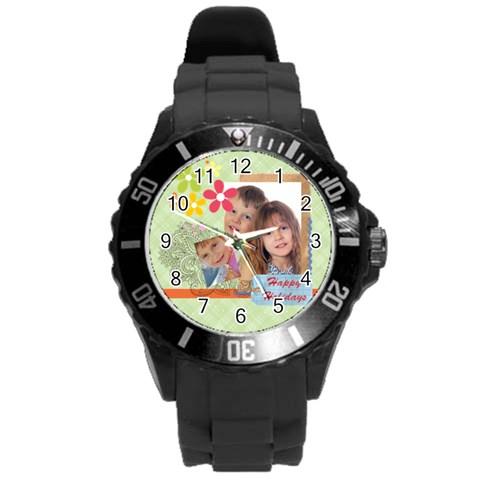 Family By Jo Jo   Round Plastic Sport Watch (l)   8ilktuk0itr5   Www Artscow Com Front