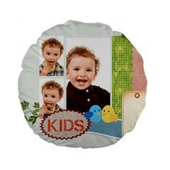 Flower Kids By Jo Jo   Standard 15  Premium Round Cushion    C6sa0onwf4je   Www Artscow Com Back