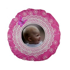 Girl Pink Lace 15  Premium Round Cushion By Deborah   Standard 15  Premium Round Cushion    Rk7e09rba0ts   Www Artscow Com Front