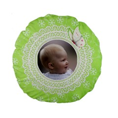 Girl Green Lace 15  Premium Round Cushion By Deborah   Standard 15  Premium Round Cushion    Dcodt9s0phnd   Www Artscow Com Front