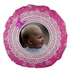 Girl Pink Lace 18  Premium Round Cushion - Large 18  Premium Round Cushion