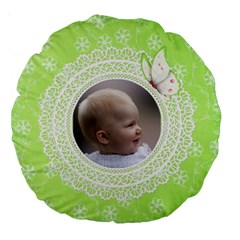 Girl Green Lace 18  Premium Round Cushion By Deborah   Large 18  Premium Round Cushion    Tvvoezemehh8   Www Artscow Com Back