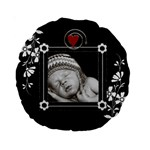 Pretty Black 15 Premium Round Cushion - 15  Premium Round Cushion