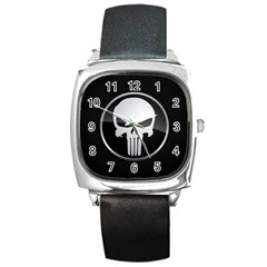 The Punisher Wallpaper  Square Leather Watch