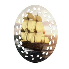 French Warship Oval Filigree Ornament (two Sides)