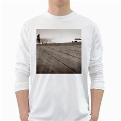 Laguna Beach Walk Mens' Long Sleeve T Shirt (white) by hlehnerer