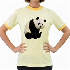 Panda Bear Womens  Ringer T Shirt (colored)