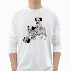 Dalmatian Puppies 1 Mens' Long Sleeve T Shirt (white)