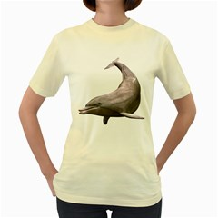 Dolphin 3  Womens  T Shirt (yellow) by gatterwe