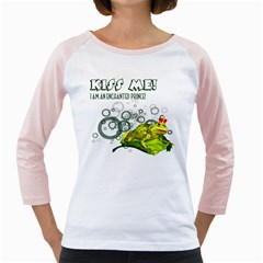 Kiss Me!  Womens  Long Sleeve Raglan T Shirt (white) by gatterwe