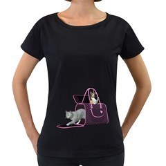 Cat 2 Womens' Maternity T Shirt (black) by gatterwe