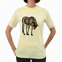 Metal Horse 2  Womens  T Shirt (yellow)