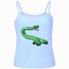 Green Snake Baby Blue Spaghetti Tank by gatterwe