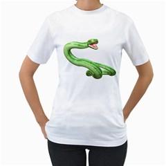 Green Snake Womens  T Shirt (white) by gatterwe