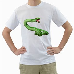Green Snake Mens  T Shirt (white) by gatterwe