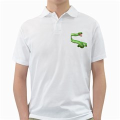 Green Snake Mens  Polo Shirt (white) by gatterwe