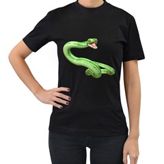 Green Snake Womens' Two Sided T Shirt (black) by gatterwe