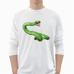 Green Snake Mens' Long Sleeve T Shirt (white) by gatterwe