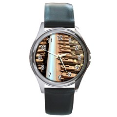 Train Track Round Metal Watch (silver Rim) by hlehnerer