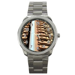 Train Track Sport Metal Watch by hlehnerer