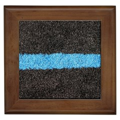 Black Blue Lawn Framed Ceramic Tile by hlehnerer