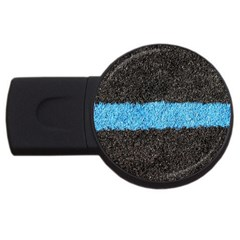 Black Blue Lawn 1GB USB Flash Drive (Round) by hlehnerer