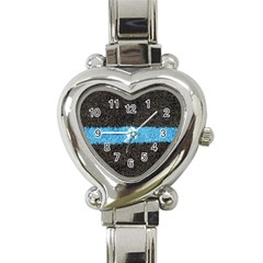 Black Blue Lawn Heart Italian Charm Watch  by hlehnerer