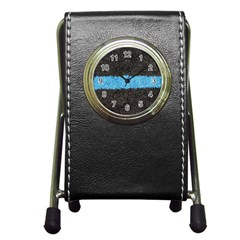 Black Blue Lawn Stationery Holder Clock by hlehnerer