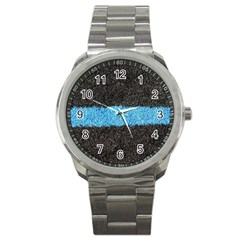Black Blue Lawn Sport Metal Watch by hlehnerer