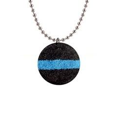 Black Blue Lawn Button Necklace