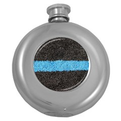 Black Blue Lawn Hip Flask (round)