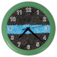 Black Blue Lawn Wall Clock (color) by hlehnerer