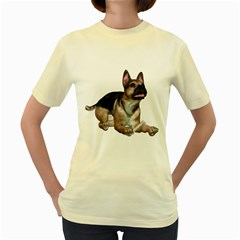 Puppy 2  Womens  T Shirt (yellow) by gatterwe