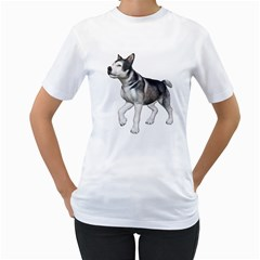 Puppy 4 Womens  T-shirt (White)