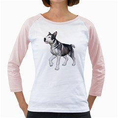 Puppy 4 Womens  Long Sleeve Raglan T Shirt (white) by gatterwe