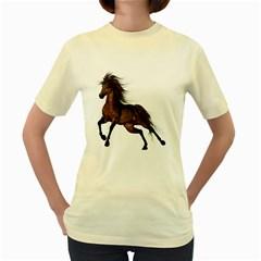Brown Horse 1  Womens  T Shirt (yellow) by gatterwe