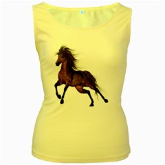 Brown Horse 1 Womens  Tank Top (yellow) by gatterwe