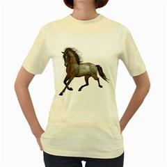 Brown Horse 2  Womens  T Shirt (yellow)