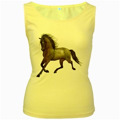 Brown Horse 2 Womens  Tank Top (yellow) by gatterwe